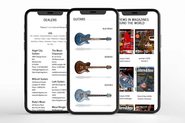 Responsives Webdesign stellt die Website von Nik Huber Guitars auf allen Endgeräten optimal dar.